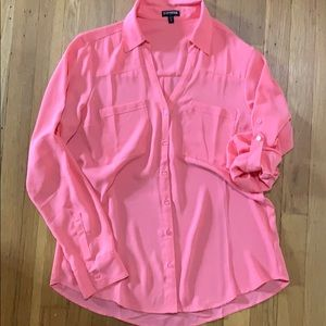 Express hot pink button up